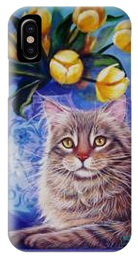 Whimsy IPhone X Case featuring the painting Lost In Thought by L Risor