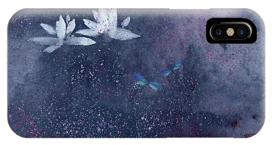 A Pair Of Dragonflies Doting Among Lotus Flowers. This Is A Contemporary Chinese Ink And Watercolor On Rice Paper Painting. IPhone X Case featuring the painting Lotus with Dragonflies by Mui-Joo Wee
