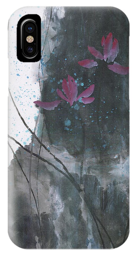 Lotus Emerged Out Of The Sludge IPhone X Case featuring the painting Lovely Lotus by Mui-Joo Wee