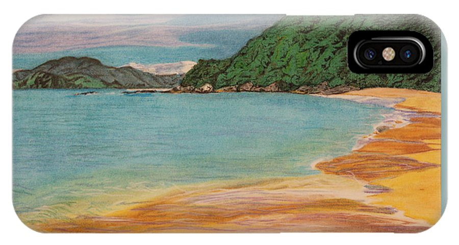 Island IPhone X Case featuring the drawing Lush Shore by Michelle Miron-Rebbe