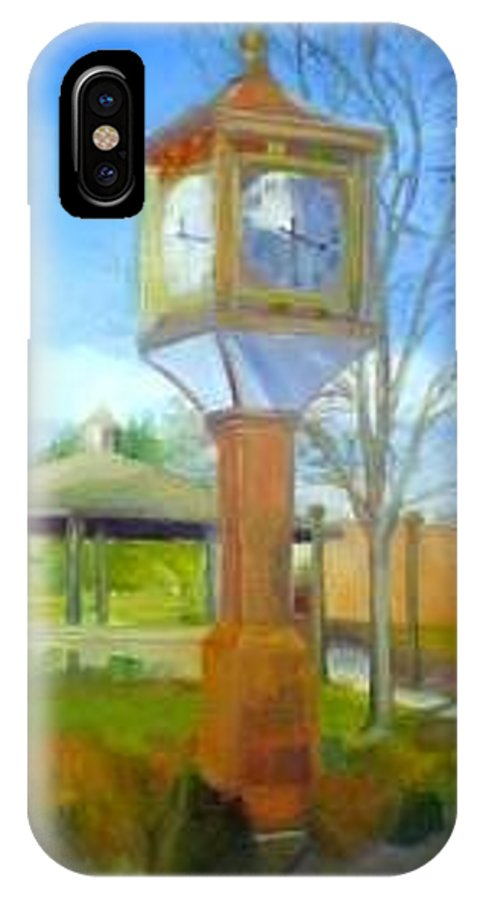 Maple Shade IPhone X Case featuring the painting Maple Shade Clock by Sheila Mashaw