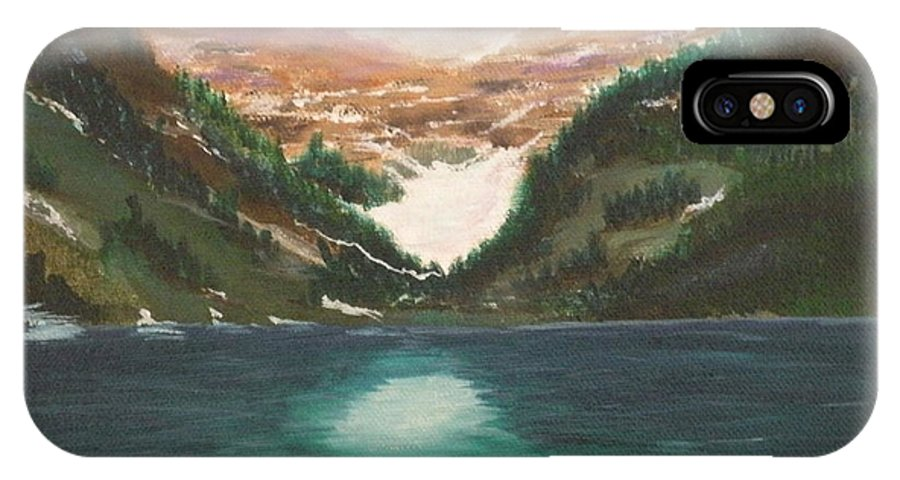 Mendenhall Glacier IPhone X Case featuring the painting Mendenhall Glacier Alaska by Lora Duguay