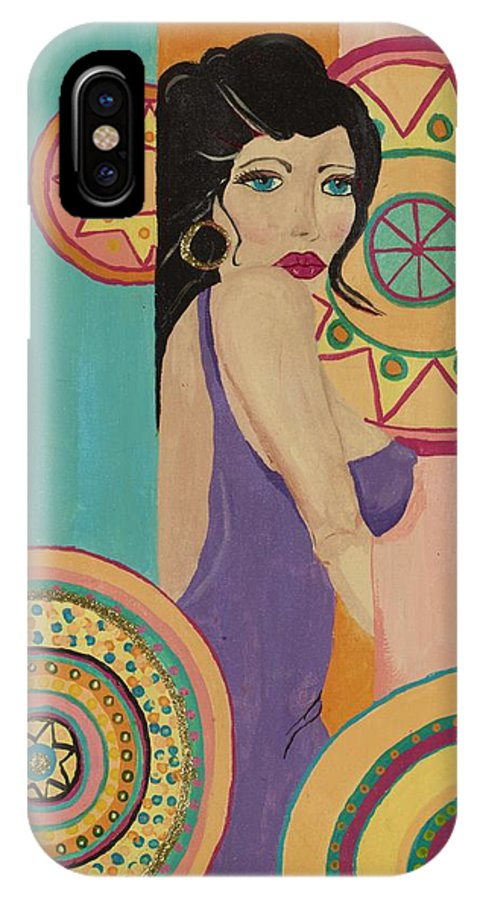 Female IPhone X Case featuring the painting Mexican Nights by J Andrel