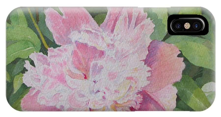 Peony IPhone X Case featuring the painting Mimis Delight by Mary Ellen Mueller Legault