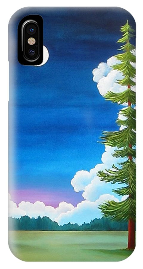 Moon iPhone X Case featuring the painting Moonshine and Still Standing by Carol Sabo