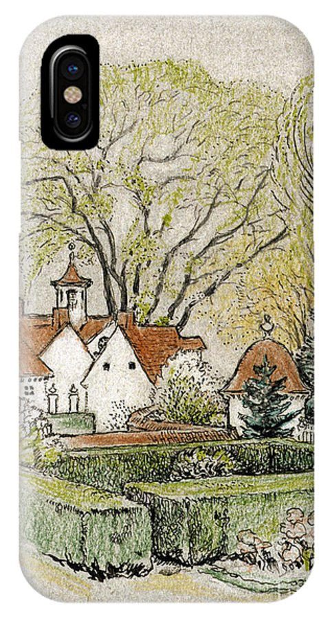 18th Century IPhone X Case featuring the drawing Mount Vernon, 1918 by Robert Latou Dickinson