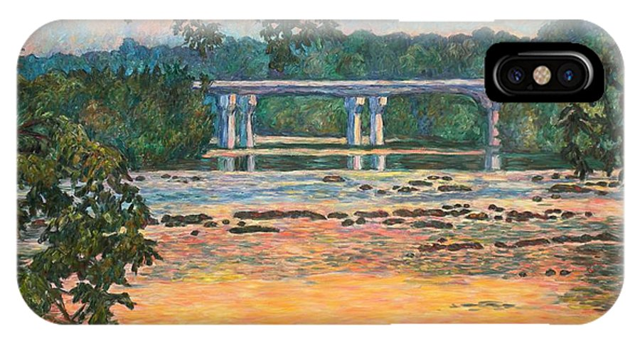 Landscape IPhone X Case featuring the painting New Memorial Bridge at Dusk by Kendall Kessler