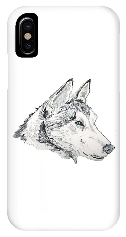Wolf IPhone X Case featuring the painting Noble Soul by Crystal Hubbard