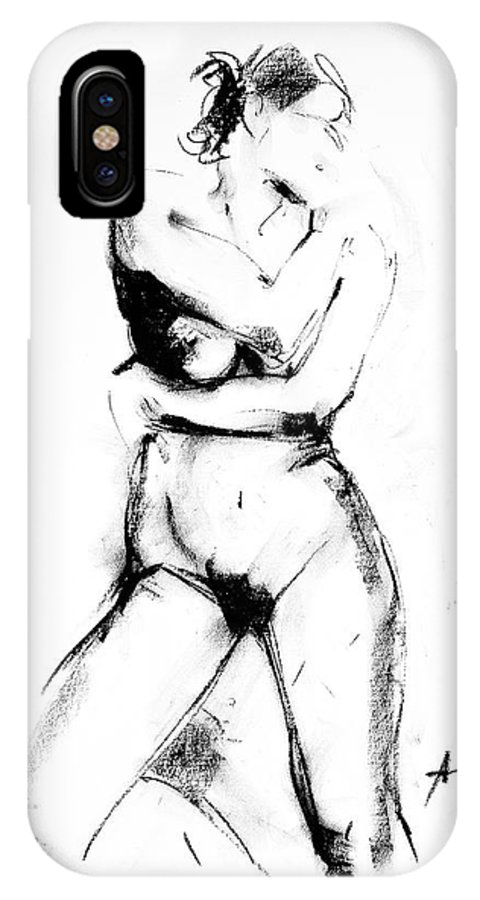 Nude IPhone X Case featuring the drawing Nude 013 by Ani Gallery