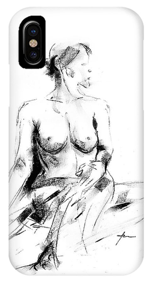 Nude IPhone X Case featuring the drawing Nude 017 by Ani Gallery
