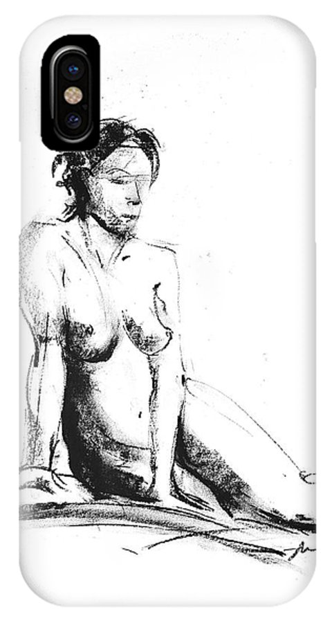 Nude IPhone X Case featuring the drawing Nude 018 by Ani Gallery