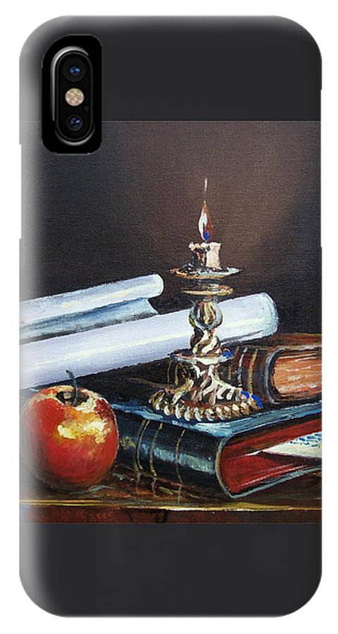 Original Painting IPhone X Case featuring the painting Old Books by Sinisa Saratlic