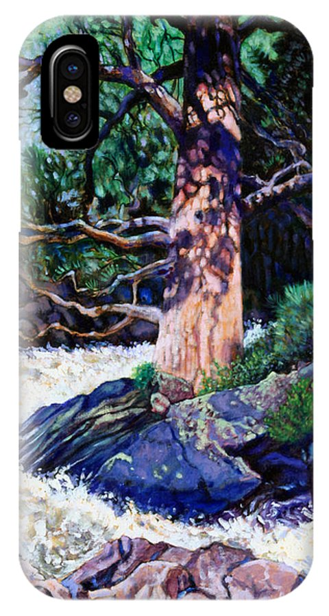 Old Pine IPhone X Case featuring the painting Old Pine In Rushing Stream by John Lautermilch