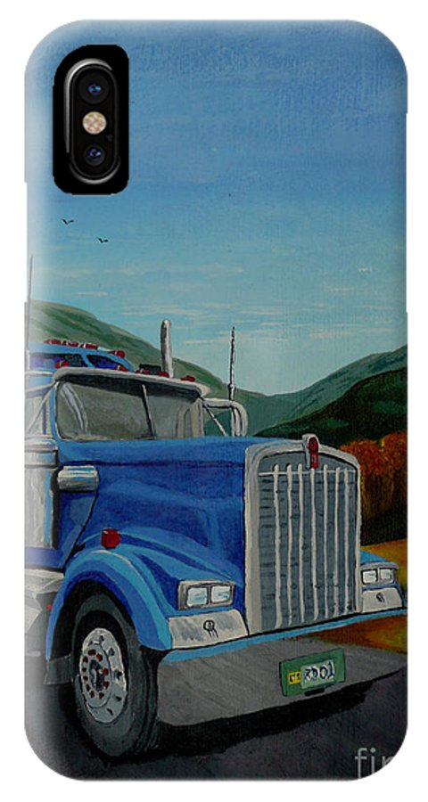 Truck IPhone X Case featuring the painting Big Blue by Anthony Dunphy