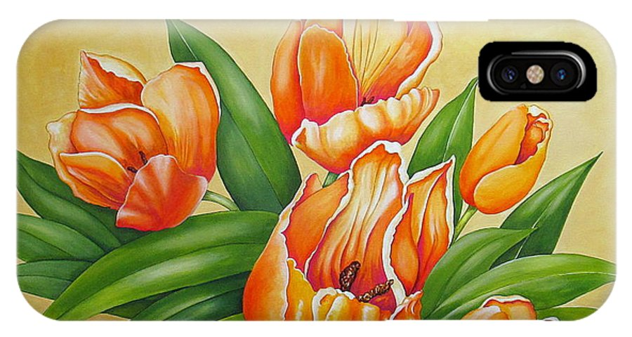 Tulips iPhone X Case featuring the painting One's Nearer God's Heart in the Garden by Carol Sabo
