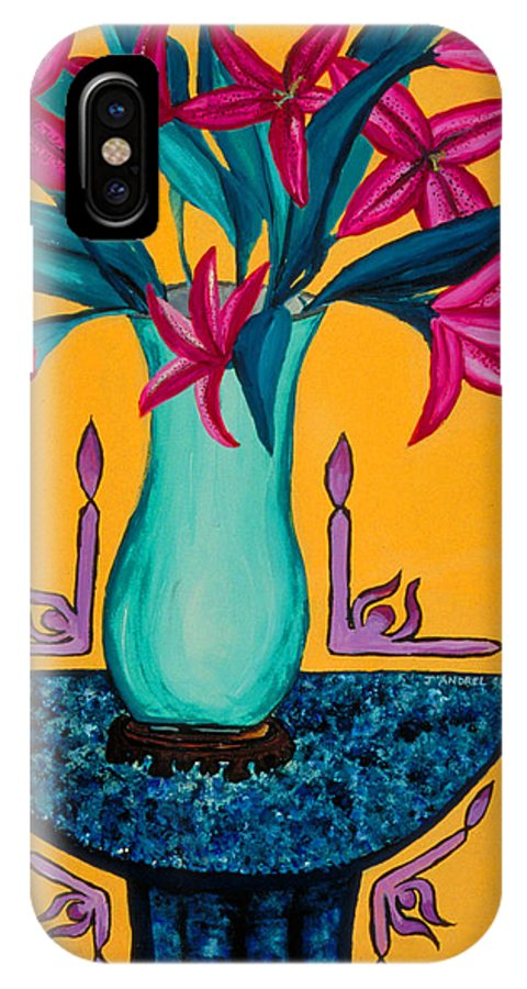 Lily IPhone X Case featuring the painting Open Wide by J Andrel