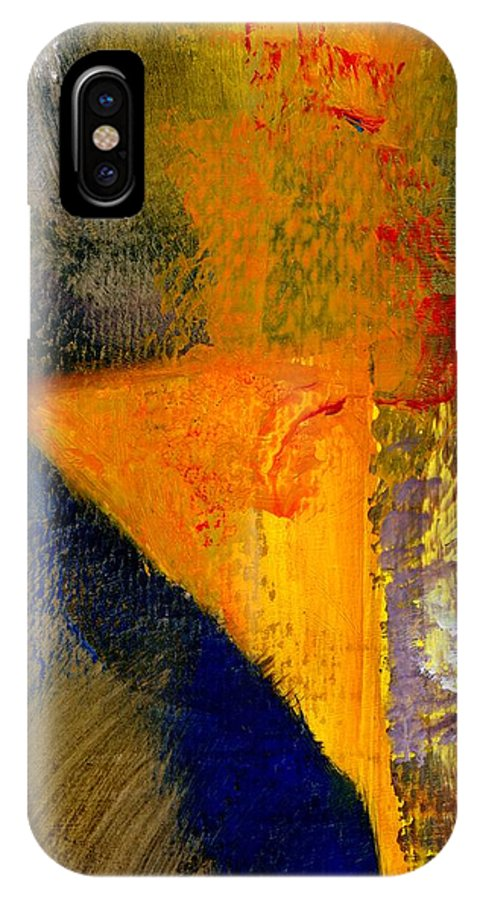 Rustic IPhone X Case featuring the painting Orange and Blue Color Study by Michelle Calkins