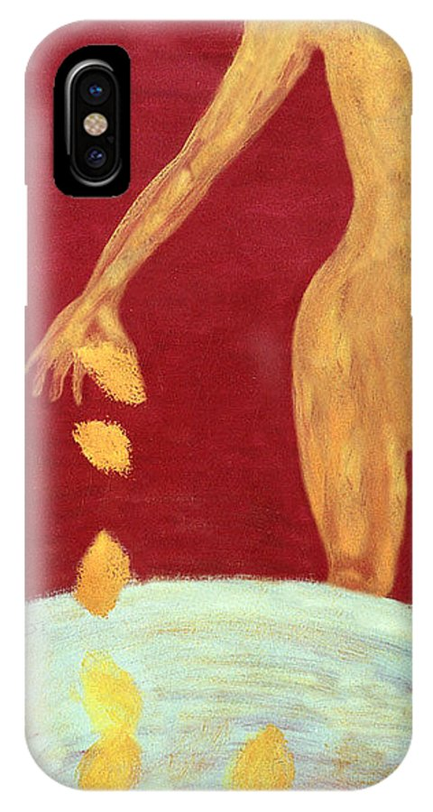 Figure IPhone X Case featuring the painting Orange Lemons by Ingrid Torjesen