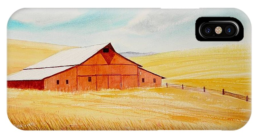 Wheat IPhone X Case featuring the painting Palouse Air by Leonard Heid