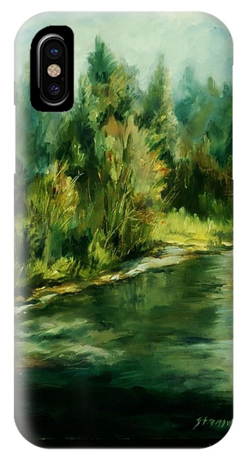 IPhone X Case featuring the painting Palouse Stream by Ruth Stromswold