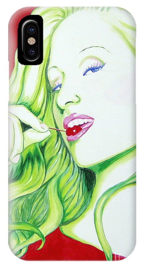 Paris IPhone X Case featuring the painting Paris and the Cherry by Holly Picano