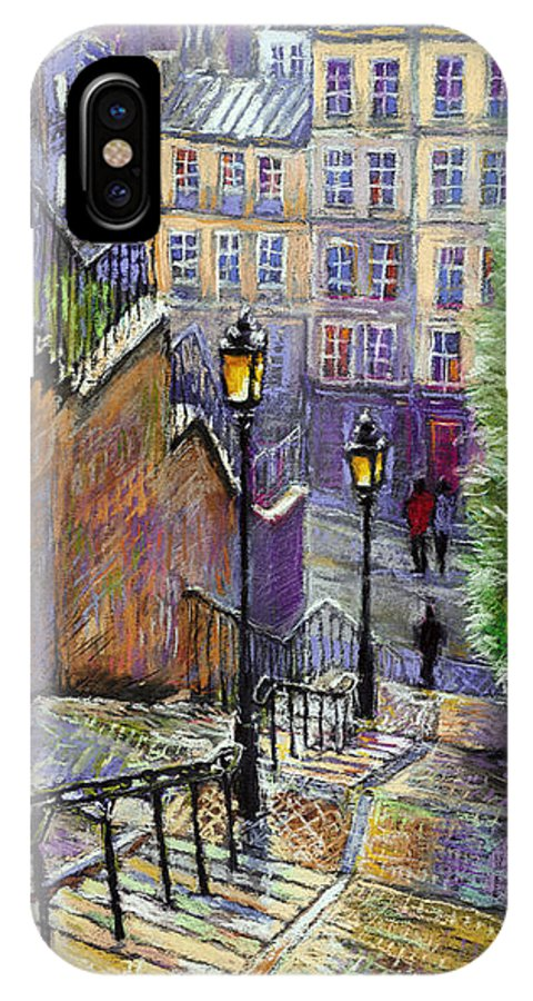 Cityscape IPhone X Case featuring the painting Paris Montmartre Steps by Yuriy Shevchuk