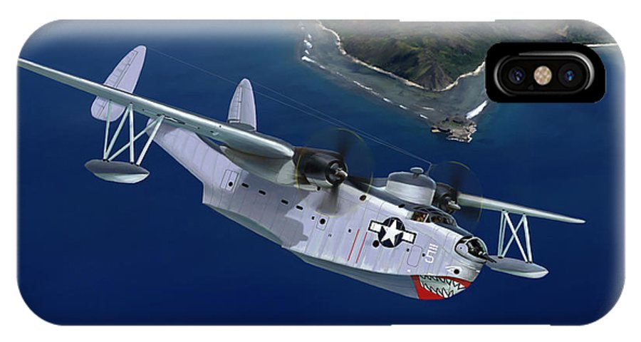 Aviation Art IPhone X Case featuring the painting PBM Mariner by Mark Karvon
