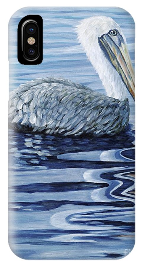 Pelican IPhone X Case featuring the painting Pelican Bay by Danielle Perry