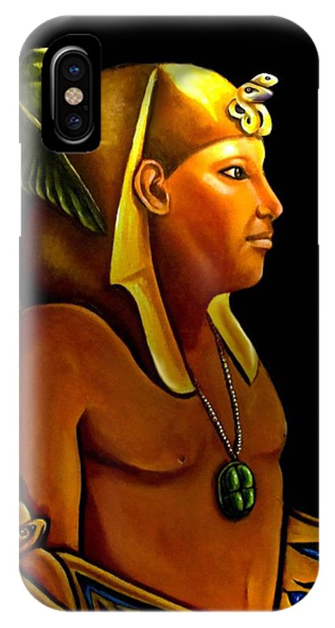Egyptian IPhone X Case featuring the painting Pharaoh by Carmen Cordova