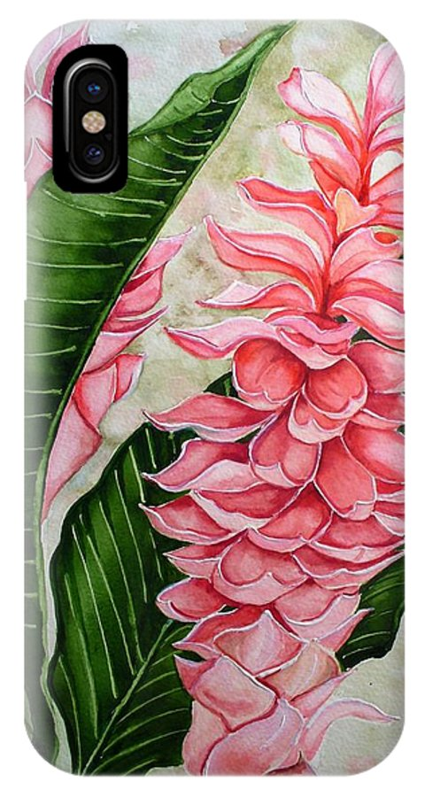 Flower Painting Floral Painting Botanical Painting Ginger Lily Painting Original Watercolor Painting Caribbean Painting Tropical Painting IPhone X Case featuring the painting Pink Ginger Lilies by Karin Dawn Kelshall- Best
