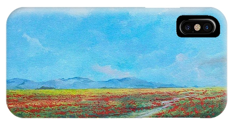 Poppy Field IPhone X Case featuring the painting Poppy Field by Sinisa Saratlic
