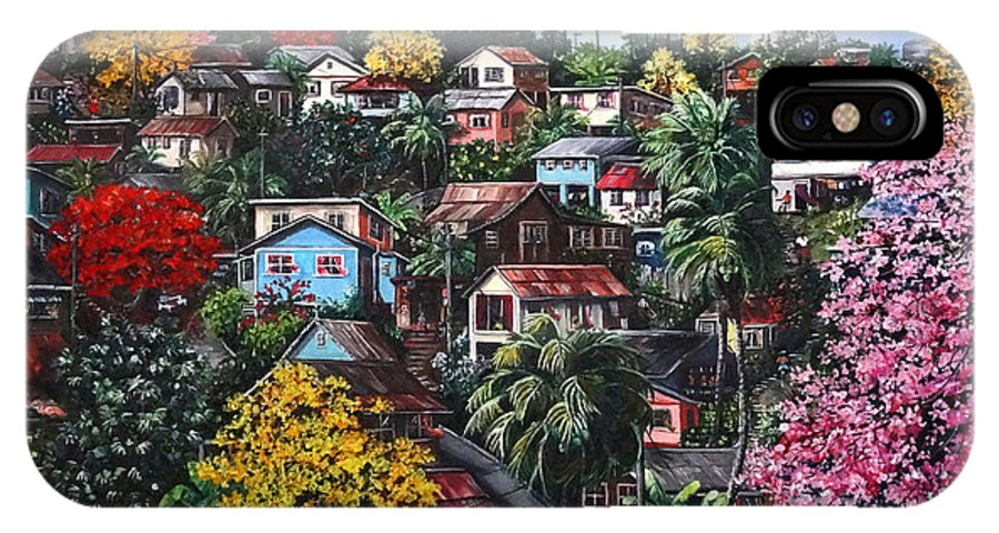 Landscape Painting Cityscape Painting Caribbean Painting Houses Hill Life Color Trees Poui Blossoms Trinidad And Tobago Floral Tropical Caribbean IPhone X Case featuring the painting Poui Calling For The Rains by Karin Dawn Kelshall- Best