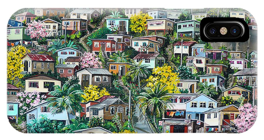 Landscape Painting Cityscape Painting Original Oil Painting  Blossoming Poui Tree Painting Lavantille Hill Trinidad And Tobago Painting Caribbean Painting Tropical Painting IPhone X Case featuring the painting Poui On The Hill by Karin Dawn Kelshall- Best