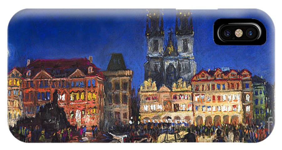 Pastel IPhone X Case featuring the painting Prague Old Town Square Night Light by Yuriy Shevchuk