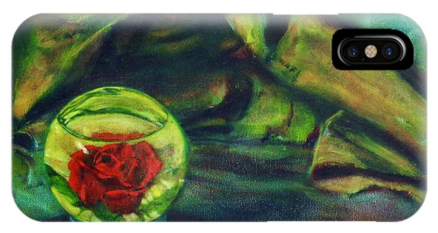 Oil Painting On Canvas IPhone X Case featuring the painting Preserved Rose . . Draped Canvas by Sean Connolly
