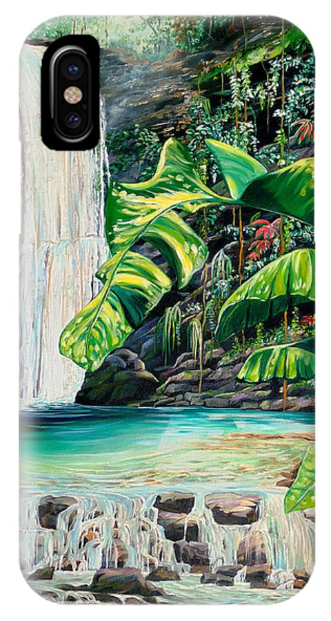 Water Fall Painting Landscape Painting Rain Forest Painting River Painting Caribbean Painting Original Oil Painting Paria Northern Mountains Of Trinidad Painting Tropical Painting IPhone X Case featuring the painting Rainforest Falls Trinidad.. by Karin Dawn Kelshall- Best