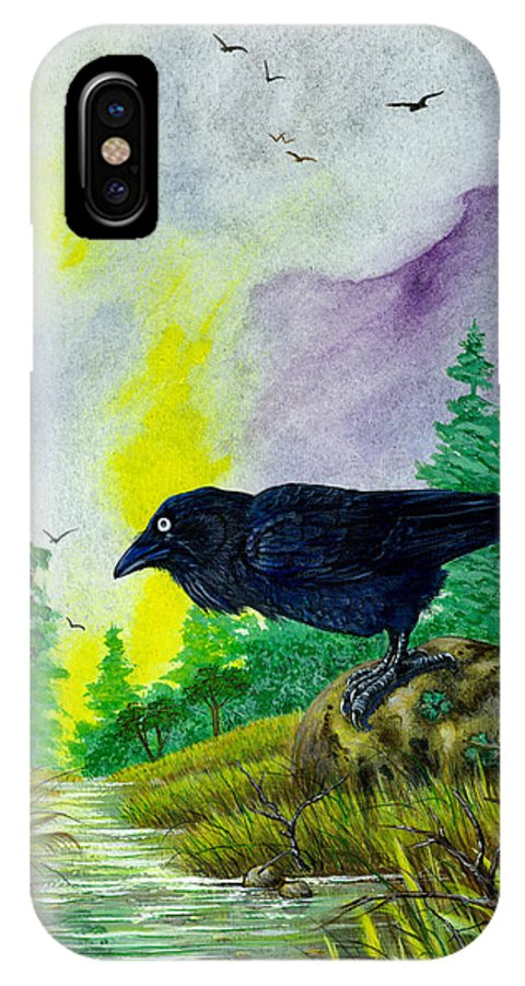 Raven Artwork IPhone X Case featuring the painting Raven and the Frog. by Richard Brooks