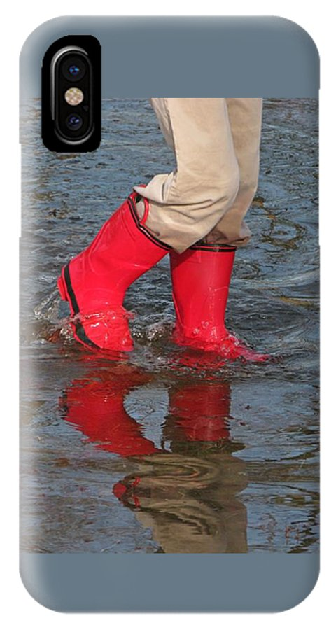 Puddle IPhone X Case featuring the photograph Red Boots by Ann Horn