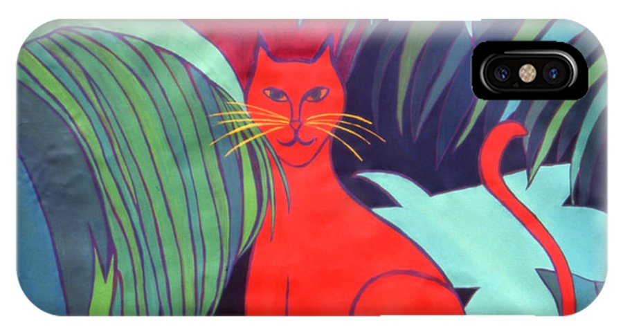 Cat IPhone X Case featuring the painting Red Cat by Ingrid Torjesen
