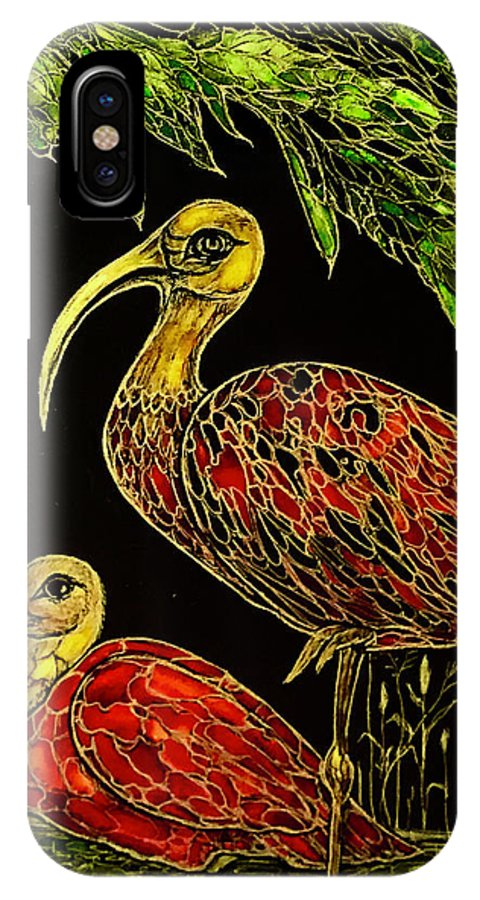 Original Artwork IPhone X Case featuring the painting Red Ibises by Rae Chichilnitsky