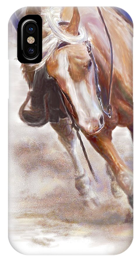 Horse IPhone X Case featuring the painting Reiner's Grace- Western Reining Horse by Connie Moses