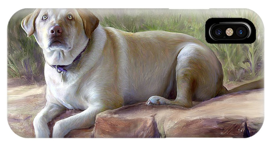 Dog IPhone X Case featuring the painting Restrained Energy- Yellow Labrador Retriever Portrait by Connie Moses