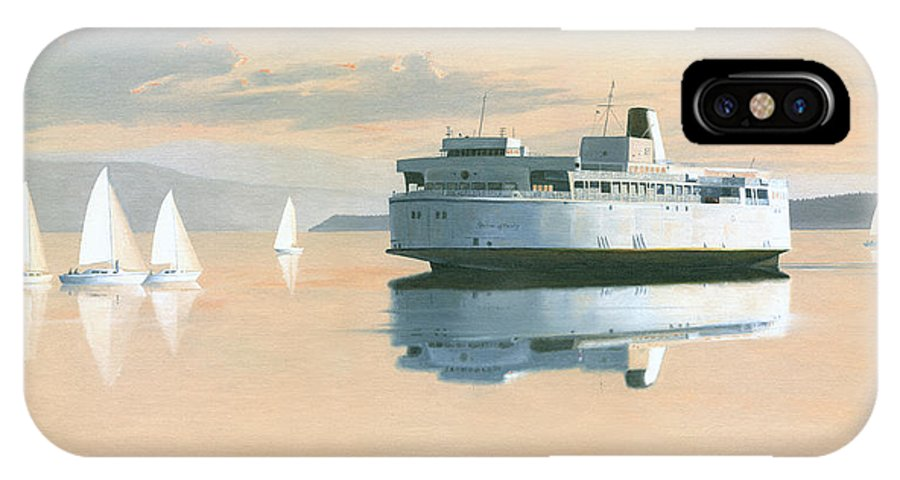 Bc Ferries IPhone X Case featuring the painting Right of way The Queen of Burnaby by Gary Giacomelli