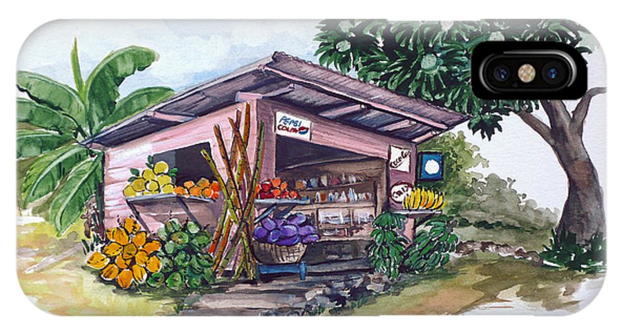 Caribbean Painting Little Shop Fruit & Veg Shop Painting Caribbean Tropical Painting Greeting Card Painting IPhone X Case featuring the painting Roadside Vendor by Karin Dawn Kelshall- Best