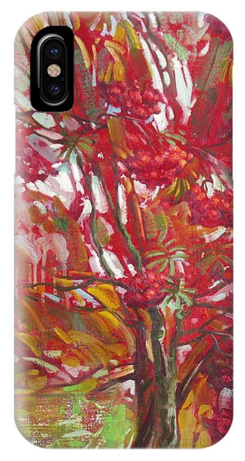 Oil IPhone X Case featuring the painting Rowan tree by Sergey Ignatenko