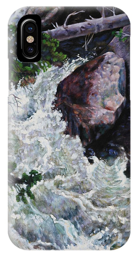 Waterfall IPhone X Case featuring the painting Rushing Stream Colorado by John Lautermilch