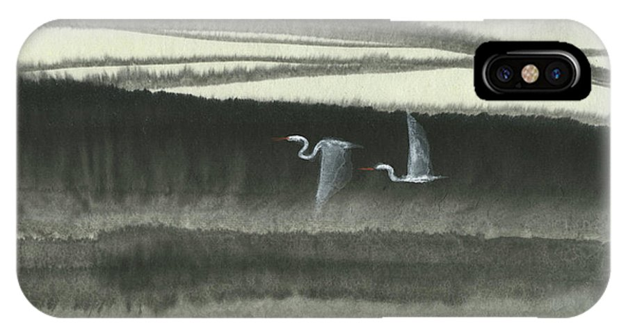 Two Cranes Flying In The Still Of The Night Over The Quiet River. This Is A Contemporary Chinese Ink And Watercolor On Rice Paper Painting. IPhone X Case featuring the painting Sailing Through the Night by Mui-Joo Wee