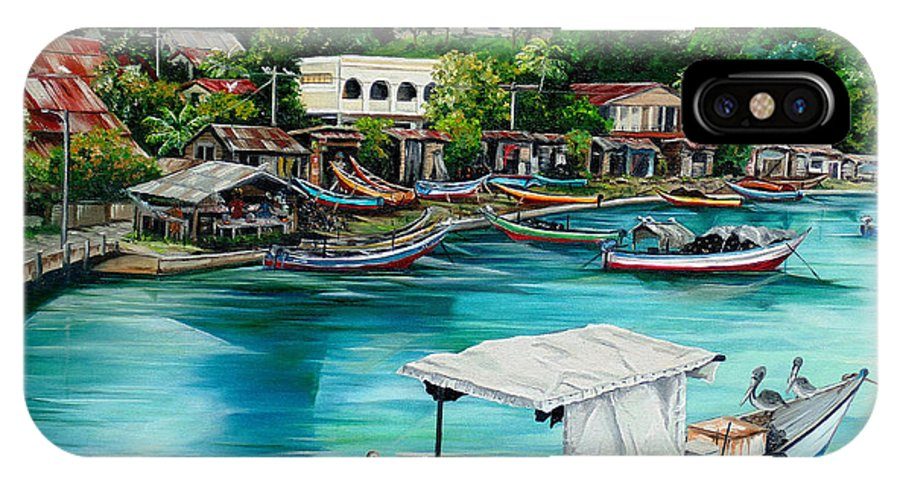 Ocean Painting Sea Scape Painting Fishing Boat Painting Fishing Village Painting Sanfernando Trinidad Painting Boats Painting Caribbean Painting Original Oil Painting Of The Main Southern Town In Trinidad  Artist Pob IPhone X Case featuring the painting Sanfernando Wharf by Karin Dawn Kelshall- Best