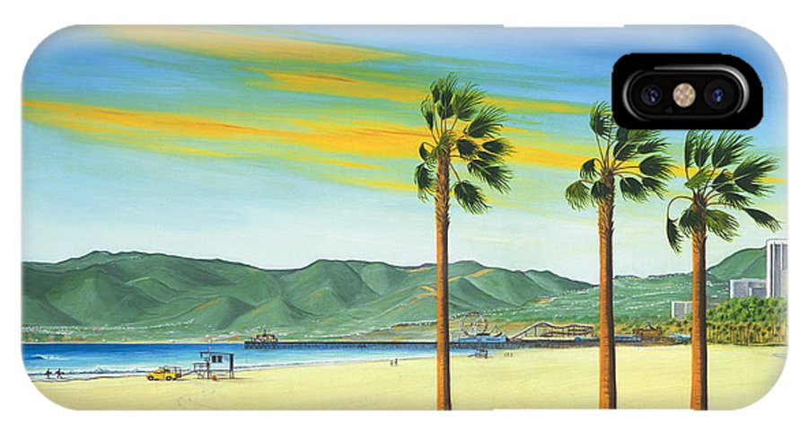 Santa Monica IPhone X Case featuring the painting Santa Monica by Jerome Stumphauzer