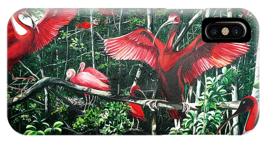 Caribbean Painting Scarlet Ibis Painting Bird Painting Coming Home To Roost Painting The Caroni Swamp In Trinidad And Tobago Greeting Card Painting Painting Tropical Painting IPhone X Case featuring the painting Scarlet Ibis by Karin Dawn Kelshall- Best
